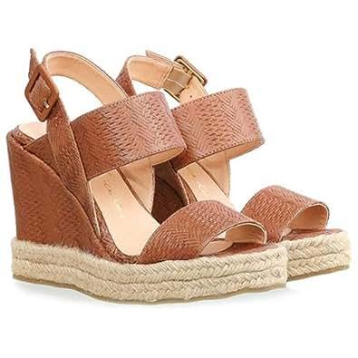 Luiza Barcelos Brown Wedge Sandal For Women