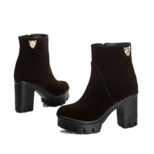 Top Closed Round Heels Women's High Low Toe Brown Frosted Solid Boots AgooLar q07gtwg
