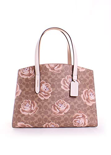 (Coach Charlie Signature Rose Print Leather Carryall Tote)