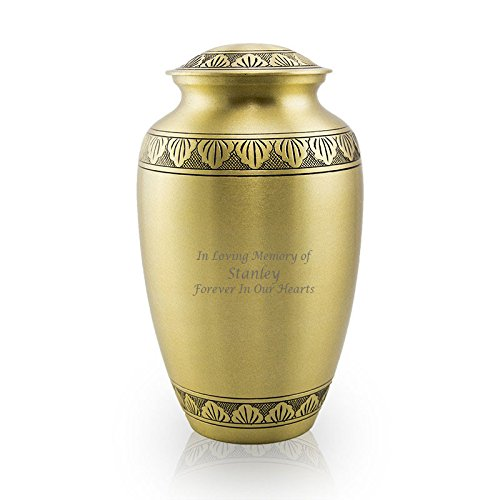 Athena Bronze Urn - Athena Bronze Brass Memorial Urn for Adult Humans - Large - Holds Up To 190 Cubic Inches of Ashes - Bronze Gold Cremation Urn for Ashes - Custom Engraving Included