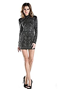 Miss ord Missord Women's Long Sleeve High Neck Bodycon Tight Casual Mini Dress