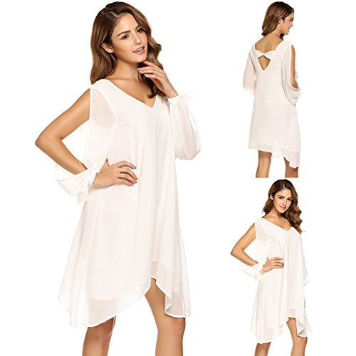 Women Loose Dress Beach Casual Dress Cut-off Long Sleeve V-neck Asymmetric Hem Chiffon SE MIU
