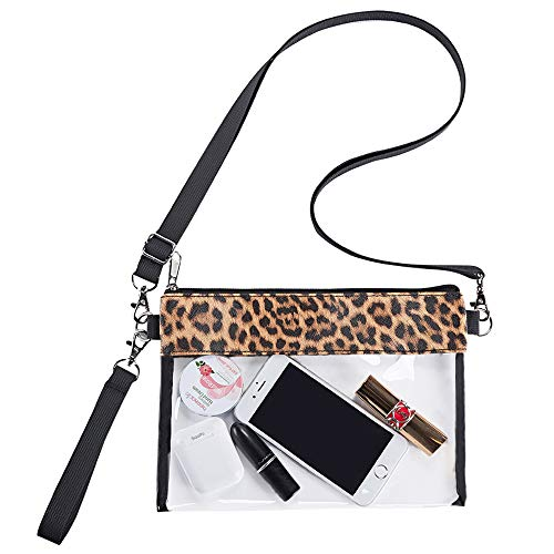 Clear Crossbody Purse Bag, Leopard Print PU Leather Bag, Stadium Approved Clear Tote Bag for Concerts Sports Events