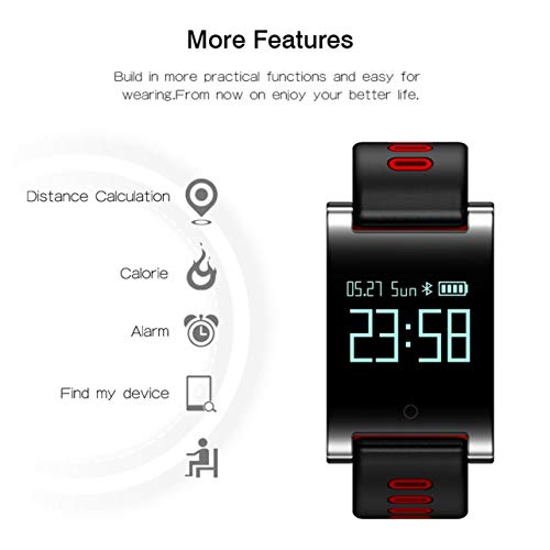 DM68 PLUS Smart Wristband Bluetooth 4.0 Wireless Bracelet Fitness Tracker(Color:Black & Red)