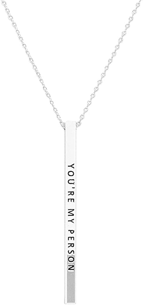Lola Bella Gifts Youre My Person Silver-Tone Metal Bar Pendant Necklace