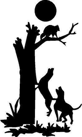 Black - 6 x 3.5 Coon Dogs Treeing Hunting Raccoon Vinyl Die Cut Decal Bumper Sticker, Windows, Cars, Trucks, laptops, etc