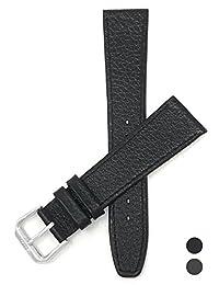 18mm Black Ultra Slim Genuine Leather Watch Strap Band, Buffalo Pattern, Anti-Allergic Lining