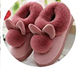 Women Shoes Pink Slippers Women and Men Cotton Slippers in Winter House Lovely Rabbit Indoor Slippers Pregnant Woman, Rubber Red 8,7.5