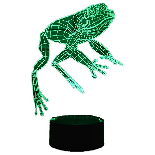 New 3d Lamp Frog Led Night Light Home Decoration USB Touch 7 Color/Remote Control 16 Color Change Acrylic Led Bedroom Table Desk Lamp ABS Base Creative Children Toys Christmas Gifts