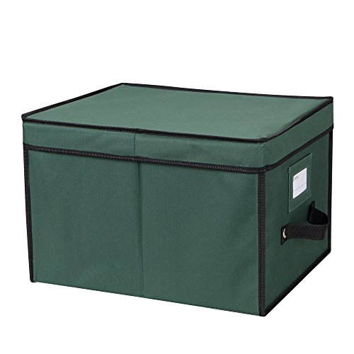"Primode Xmas Light Box Organizer | Holiday Light Storage Box with Lid Constructed of Durable 600D Oxford Material (15"" x 12"" x 10"") (Green)"