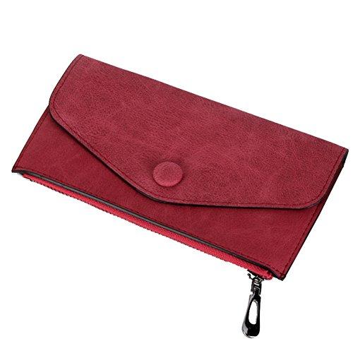 WTUS Mujer Carteras De Cuero Classics Nobuck Monederos de Crédito Dinero y Carnet ID para Mujer Rojo