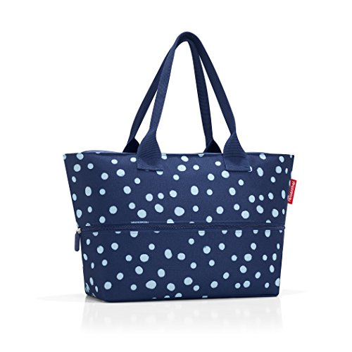 Hand Carry Shopper Tote Bag - reisenthel Shopper E1, Expandable 2-in-1 Tote, Converts from Handbag to Oversized Carryall, Spots Navy