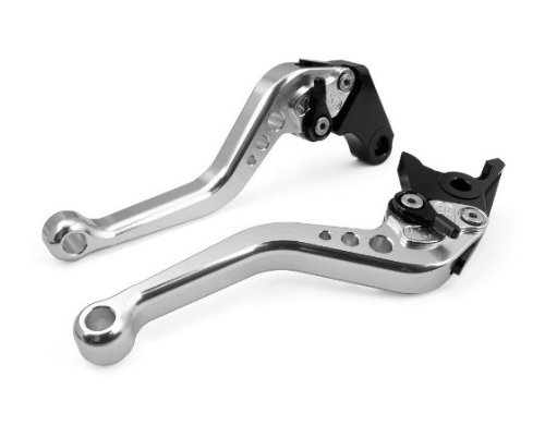 (Adjustable Short CNC Motorcycle Brake and Clutch Levers for TRIUMPH 675 Street Triple R/RX 2009-2015,Daytona 675 2006-2015,Speed Triple 2008-2010-Silver)