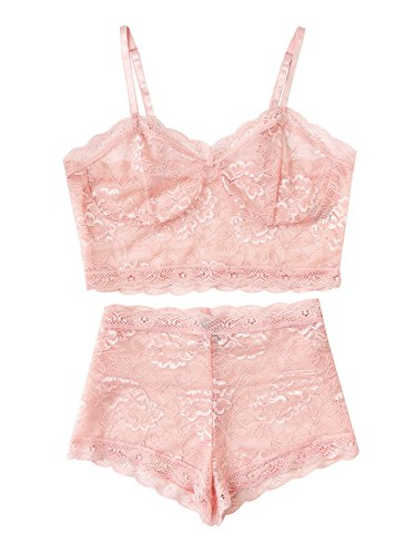 SheIn Women's Lace Bustier Top and Shorts Pajamas Set Sleepwear Small Pink (Bustier Cropped)