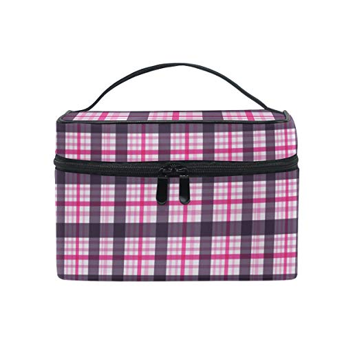 (Pink Square Grid Women Makeup Bag Travel Cosmetic Bags Toiletry Train Case Beauty Pouch Organizer)