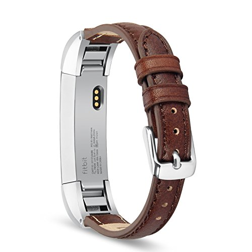 Fitbit Alta HR and Alta Band, Benuo [Vintage Series] Premium Genuine Leather Strap, Classy Replacement Band with Metal Buckle Clasp, Adapters for Fitbit Alta Smart Fitness Tracker (Dark Brown)