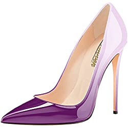 Modemoven Women's Violet Beige Pointy Toe High Heels Slip On Stilettos Large Size Wedding Party Evening Pumps Shoes 9.5 M US