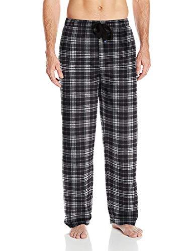 IZOD Men's Advantage Sleepwear Silky Fleece Pajama Pants, Black/White/Grey, X-Large Black White Mens Sleepwear