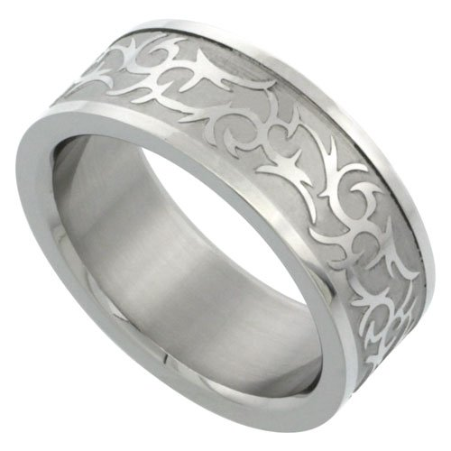 Stainless Steel Tribal Design Band (Surgical Stainless Steel 8mm Tribal Design Ring Wedding Band, size)