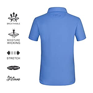 JITIMAO Boys Golf Dry Fit Polo Shirt for Age 5-15, Breathable Performance Short Sleeves T-Shirt Slim Fit