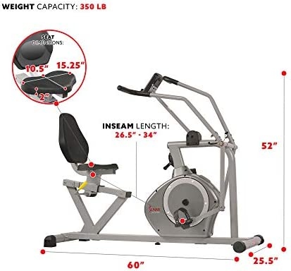 Sunny Health & Fitness Magnetic Recumbent Bike Exercise Bike, 350lb High Weight Capacity, Cross Training, Arm Exercisers, Monitor, Pulse Rate Monitoring - SF-RB4708 6