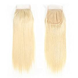 100% Brazilian Natural Human Hair Lace Closure 613 Blonde Color, Swiss Lace, Density 130%, 4×4 Inch Free Part
