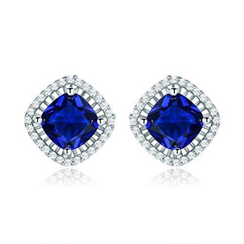MASOP Party Studs Royal Blue 8mm Cushion Cut Zircon Earrings Silver ()