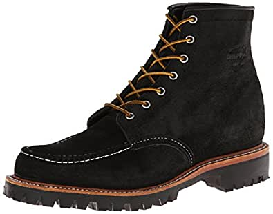 "Chippewa Men's 6"" Lace-Up Suede Field Boot Moc Toe Black 7 D(M) US"