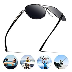 Dollger Mens Sunglasses Polarized Aviator Shades Designer Driving Black