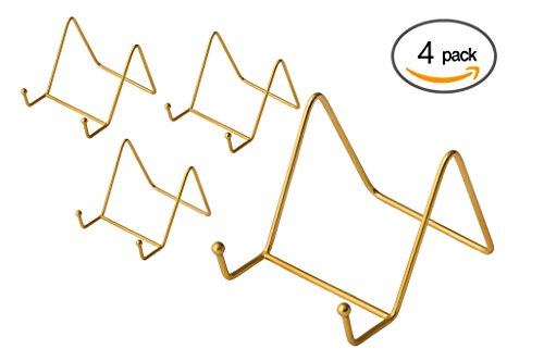 Pack of 4 Brass Plate Stands Decorative Counter Top Displays
