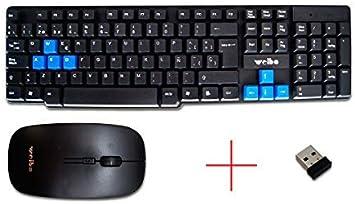 Kit Teclado y Ratón Inalámbricos USB 2,4Ghz 10m Ordenador PC ...
