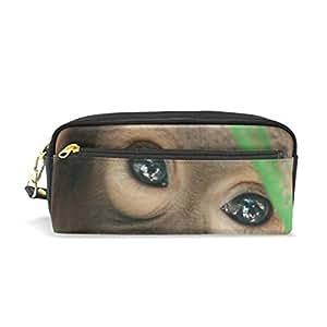 Estuche de piel para lápices, diseño de ojos de mono: Amazon ...