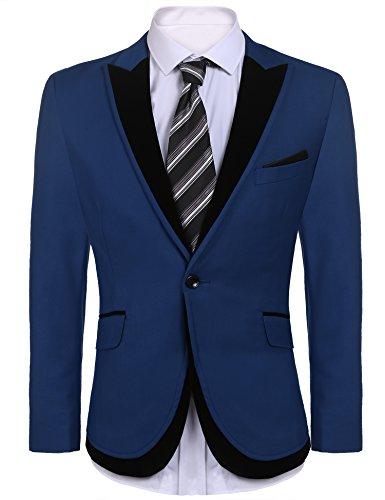 COOFANDY Mens Blazers Slim Fit Stylish Casual Notched Lapel Suit Coat One Button Suit (Blue Blazer Black)