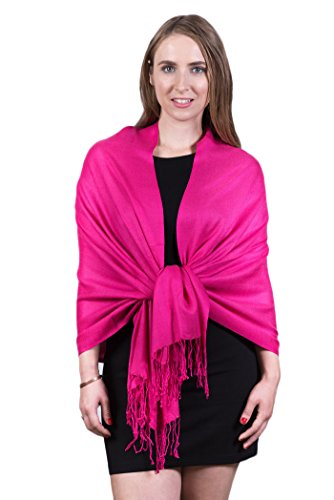 Fashmina Pure Solid Pashmina Shawl Scarf - Silky soft, Opaque - Hot (Hot Pink Pashmina Scarf)
