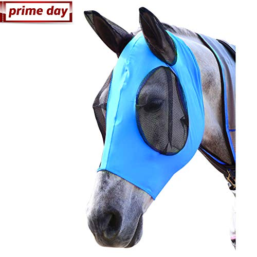 Horse Fly Mask, Fly Mask with Nose and Ears - Mesh Mask Effectively Protects The Horse from Sandstorms, Avoids Direct Light While Allowing Full Visibility