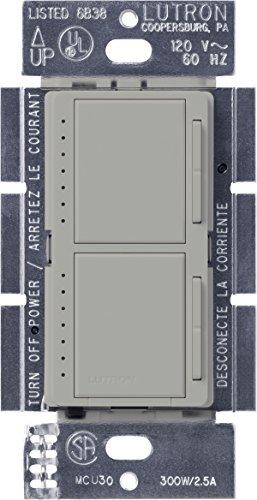 Lutron MA-L3L3-GR Maestro 300 Watt (top)/300 Watt (bottom) Single Pole Dual Dimmer, Gray