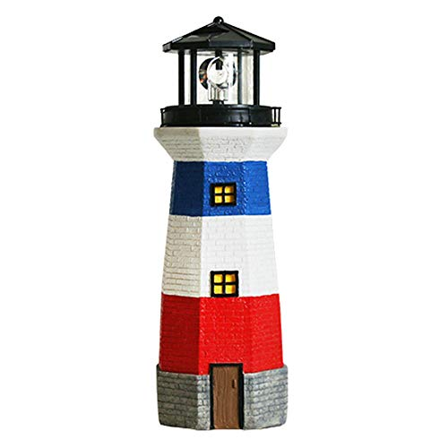 - Sungmor Resin Solar Powered Illuminated Rotating Lighthouse Garden Ornament   Outdoor Garden Ornaments with LED Lights   Creative Garden Courtyard Home Solar Light Statue Decorations