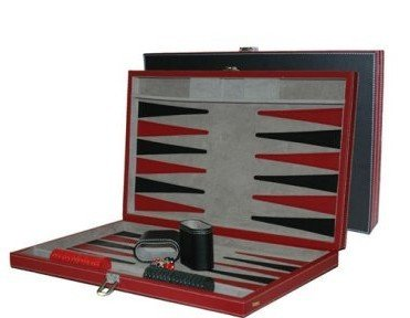 Red Leatherette Backgammon Set - 18