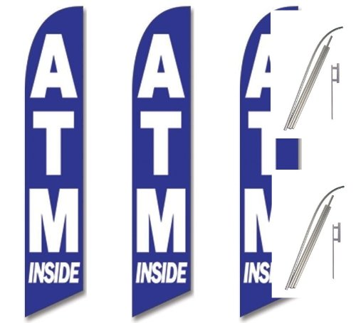 Two Full Sleeve Swooper Flags w// Poles /& Spikes ATM INSIDE Blue with Big White Text