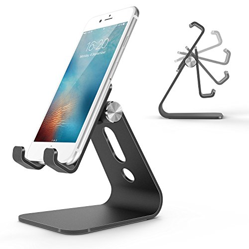 Cell Phone Stand, OMOTON Adjustable Aluminum Desktop Cellphone Tablet Stand Holder for Cellphones, iPhone and E-Readers, Black