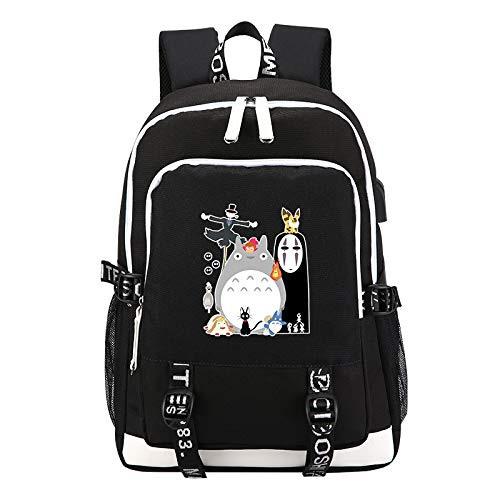Spirited Away No Face Man Printing Backpack Totoro Kawaii Women Backpack USB Charging Laptop Backpack Canvas School Bag (4)