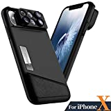 iPhone X Lens, 4K HD [0.65X] Wide Angle, 15X Macro, 180° Fisheye Camera Lenses Kit 3-IN-1, Portable iPhonex Lens Kit for Apple iPhone 10 ONLY, Easy to Switch Effect Lenses by Ainope (Black)