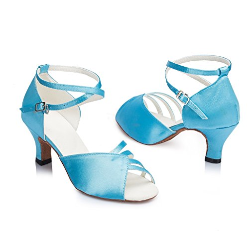 Kitten 5 M Latin Blue Women's Dance Heel Shoes Miyoopark Satin US qR85tztxw
