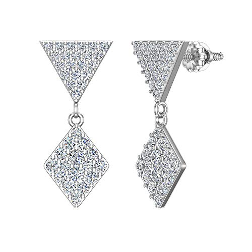 14K White Gold Diamond Earrings Kite Pattern Cluster Dangle Drop Earrings 0.82 carat total weight (I color, I1 clarity)