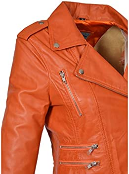 Womens Real Leather Biker Motorcycle Style Fitted Cross Zip Jacket Cara Orange