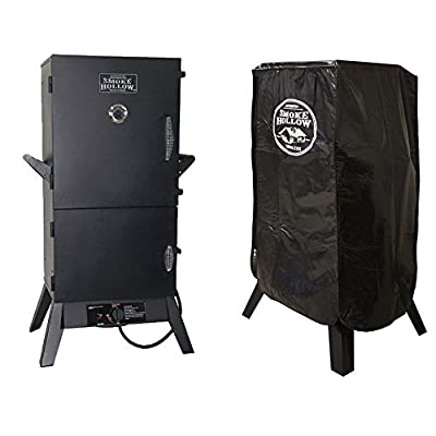 Smoke Hollow 38-Inch Vertical Propane Smoker + Weather Resistant Smoker Cover from Smoke Hollow