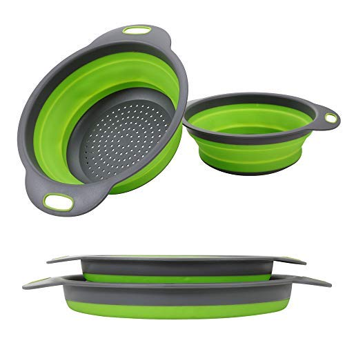 (Collapsible Colander【2019 New Version】2 Collapsible Set, Learja Food-Grade Silicone kitchen Strainer Space-Saver Folding Strainer Colander, Sizes 8 inches - 2 Quart, and 9.5 inches - 3 quart.)