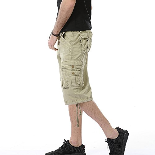 Leward Men's Cotton Twill Cargo Shorts Outdoor Wear Lightweight (34, Khaki)
