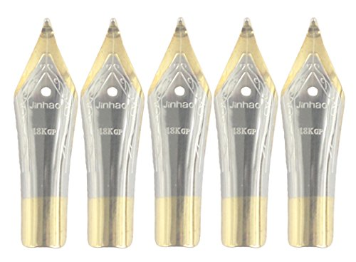 Gullor 5PCS Fountain Pen Nibs Fit Jinhao 250/301/500/5099/8802/9009/5000, Gold, Bent Nib