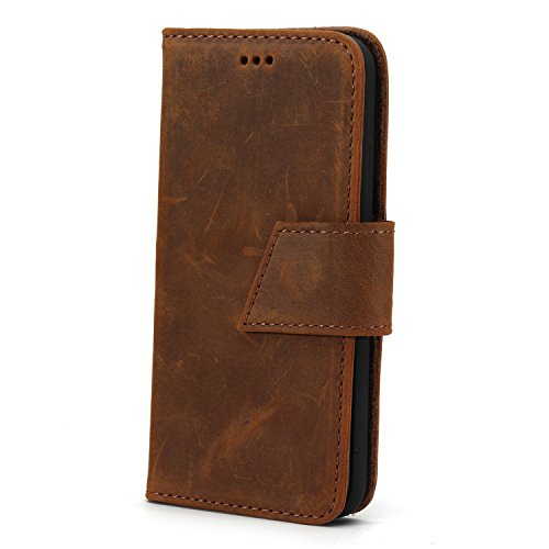 iPhone 8 Plus, iPhone 7 Plus Case, WEOZE Handmade Genuine Leather [Vintage Crazy Horse Pattern] +Wallet Case Book Design w/Flip Cover, Stand[Card Slot], Magnetic Strap- QI/Wireless Charging Compatible